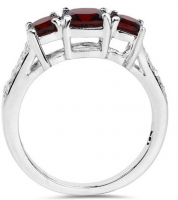 Garnet Cushion & White Topaz .925 Sterling Silver Ring at PristineAuction.com