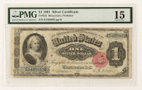 1891 $1 One-Dollar U.S. Silver Certificate Large-Size Bank Note (PMG 15) at PristineAuction.com