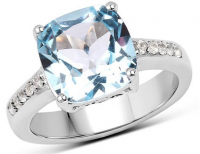 Blue & White Topaz .925 Sterling Silver Ring at PristineAuction.com