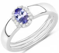 Tanzanite & White Zircon .925 Sterling Silver Ring at PristineAuction.com