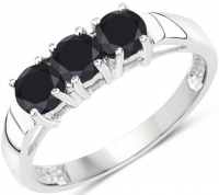 Black Diamond .925 Sterling Silver Ring at PristineAuction.com