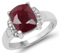 Ruby Dyed Cushion & White Topaz .925 Sterling Silver Ring at PristineAuction.com