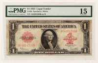 1923 $1 One-Dollar Red Seal U.S. Legal Tender Large-Size Bank Note (PMG 15) at PristineAuction.com