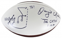 "Dwight Clark Signed 49ers Logo Football Inscribed ""TD!"", ""1.10.82"" & ""The CATCH"" with Hand Drawn Play (Fanatics Hologram) at PristineAuction.com"