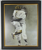 "Yogi Berra & Don Larsen Signed LE Yankees 24x30 Custom Framed Lithograph Display Inscribed ""PG 10-8-56"" (PSA LOA) at PristineAuction.com"