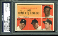 Roger Maris Signed Mickey Mantle / Jim Lemon / Rocky Colavito 1961 Topps #44 AL Home Run Leaders (PSA Encapsulated) at PristineAuction.com