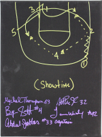 "Lakers ""Sideline Play"" 12x16 Canvas Signed by (5) with Magic Johnson, Mychal Thompson, Byron Scott, James Worthy & Kareem Abdul-Jabbar with Hand-Drawn Play Inscribed ""(Showtime)"" (Beckett COA) at PristineAuction.com"