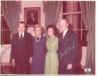 Richard Nixon & Gerald Ford Signed 11x14 Photo (Beckett LOA) at PristineAuction.com