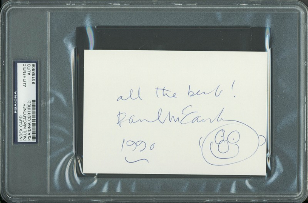 "Paul McCartney Signed 4x6 Index Card with Hand-Drawn Sketch Inscribed ""All The Best!"" & ""1990"" (PSA Encapsulated) at PristineAuction.com"