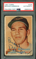 Brooks Robinson Signed 1957 Topps #328 RC (PSA Encapsulated) at PristineAuction.com