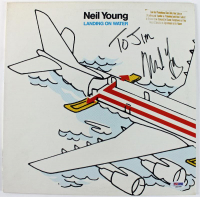 """Neil Young Signed """"Landing on Water"""" Vinyl Record Album Cover (PSA COA) at PristineAuction.com"""