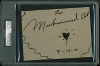"Muhammad Ali Signed 5x7 Cut with Heart Sketch Inscribed ""Love"" & ""3-19-91"" (PSA Encapsulated) at PristineAuction.com"