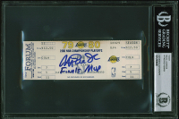 "Magic Johnson Signed 1980 Finals Game 4 Ticket Stub Inscribed ""Finals MVP"" (BGS Encapsulated) at PristineAuction.com"