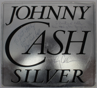 """Johnny Cash, Earl Ball & Jack Routh Signed """"Silver"""" Vinyl Record Album Cover Inscribed """"Best Wishes"""" & """"Here's Hoping For Tomorrow"""" (Beckett LOA) at PristineAuction.com"""