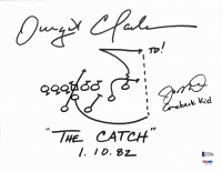 "Joe Montana & Dwight Clark Signed ""The Catch"" 11x14 Canvas with Hand-Drawn Play Inscribed ""1. 10. 82"" & ""Comeback Kid"" & ""TD!"" (Beckett COA & PSA Hologram) at PristineAuction.com"