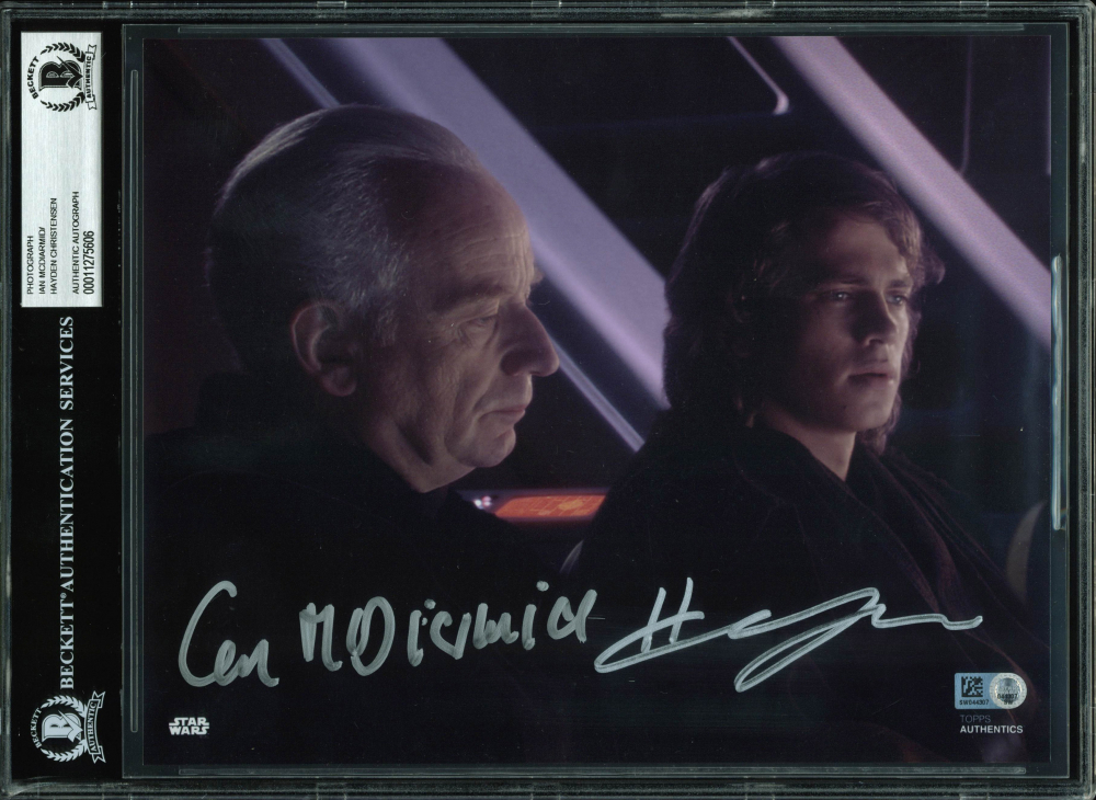 "Ian McDiarmid & Hayden Christensen Signed ""Star Wars"" 8x10 Photo (BGS Encapsulated & Star Wars Authentics Hologram) at PristineAuction.com"