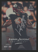 Lamar Jackson 2018 Panini Luminance Draft Day Signatures Silver #33 at PristineAuction.com