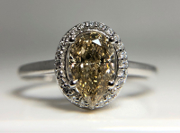 1.16ct Fancy Yellow & White Diamond Halo Engagement Ring 14kt White Gold (GIA Certified) at PristineAuction.com
