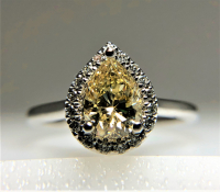 1.25ct Fancy Yellow & White Diamond Halo Engagement Ring 14kt White Gold (EGL Certified) at PristineAuction.com
