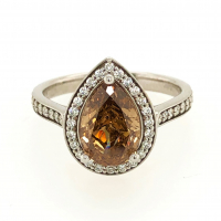 2.71ct Fancy Orange & White Diamond Halo Engagement Ring 14kt White Gold (GIA Certified) at PristineAuction.com