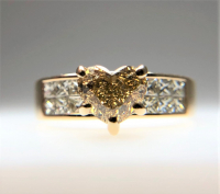 1.85ct Fancy Dark Yellowish Brown & White Diamond Invisible Set Engagement Ring 14kt Yellow Gold (GIA Certified) at PristineAuction.com