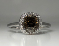 1.20ct Fancy Dark Yellowish Brown & White Diamond Halo Engagement Ring 14kt White Gold (GIA Certified) at PristineAuction.com