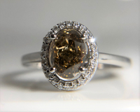 1.24ct Fancy Dark Yellowish Brown & White Diamond Halo Engagement Ring 14kt White Gold (GIA Certified) at PristineAuction.com