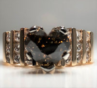 2.55ct Fancy Dark Brown & White Diamond Engagement Ring 14kt Yellow Gold (GIA Certified) at PristineAuction.com