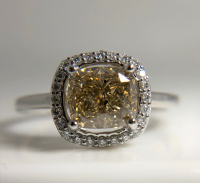 1.72ct Fancy Yellow & White Diamond Halo Engagement Ring 14kt White Gold (GIA Certified) at PristineAuction.com