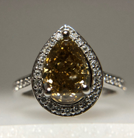 2.77ct Fancy Yellow-Brown & White Diamond Halo Engagement Ring 14kt White Gold (GIA Certified) at PristineAuction.com