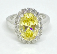 1.30ct Fancy Yellow & White Diamond Halo Engagement Ring 14kt White Gold (GIA Certified) at PristineAuction.com