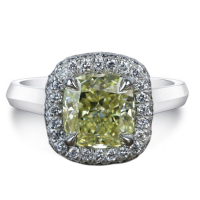 1.37ct Fancy Brownish Greenish Yellow & White Diamond Halo Engagement Ring 14kt White Gold (GIA Certified) at PristineAuction.com