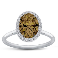 1.12ct Fancy Dark Yellowish Brown & White Diamond Halo Engagement Ring 14kt White Gold (GIA Certified) at PristineAuction.com