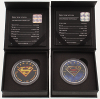 Lot of (2) 2016 Colorized Superman $5 Five Dollar Silver Coins with Display Boxes at PristineAuction.com