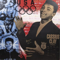 "Muhammad Ali Signed 38x38 LE Giclee on Canvas by Steve Kaufman Inscribed ""AKA Cassius Clay"" (JSA LOA) at PristineAuction.com"