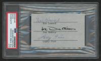 "Moe Howard, Joe DeRita, & Larry Fine Signed ""The Three Stooges"" 2.5x4 Cut (PSA Encapsulated & PSA LOA) at PristineAuction.com"