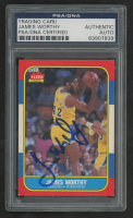 James Worthy Signed 1986-87 Fleer #131 RC (PSA Encapsulated) at PristineAuction.com