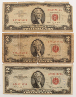 Lot of (3) 1953-1963 $2 Two-Dollar Red Seal U.S. Legal Tender Notes at PristineAuction.com