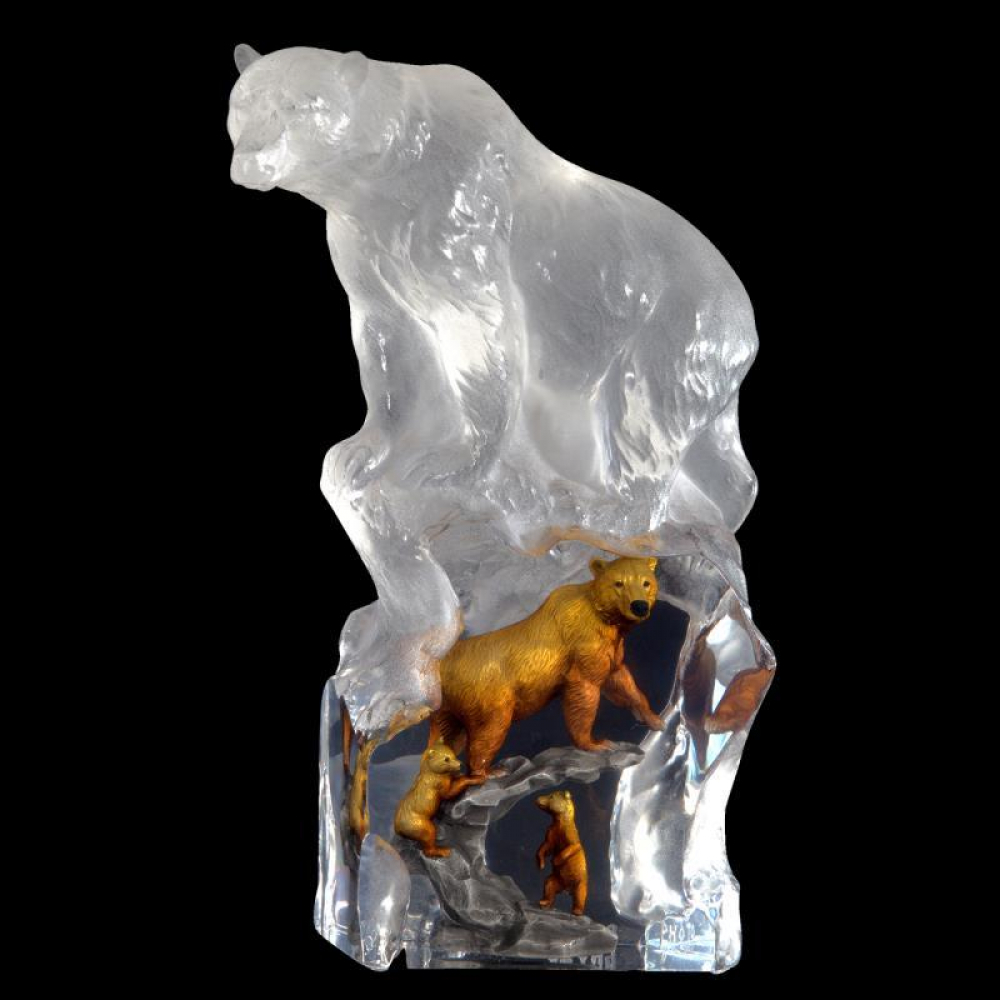"""Kitty Cantrell Signed """"First Dawn (Bear)"""" Limited Edition Mixed Media Lucite Sculpture at PristineAuction.com"""