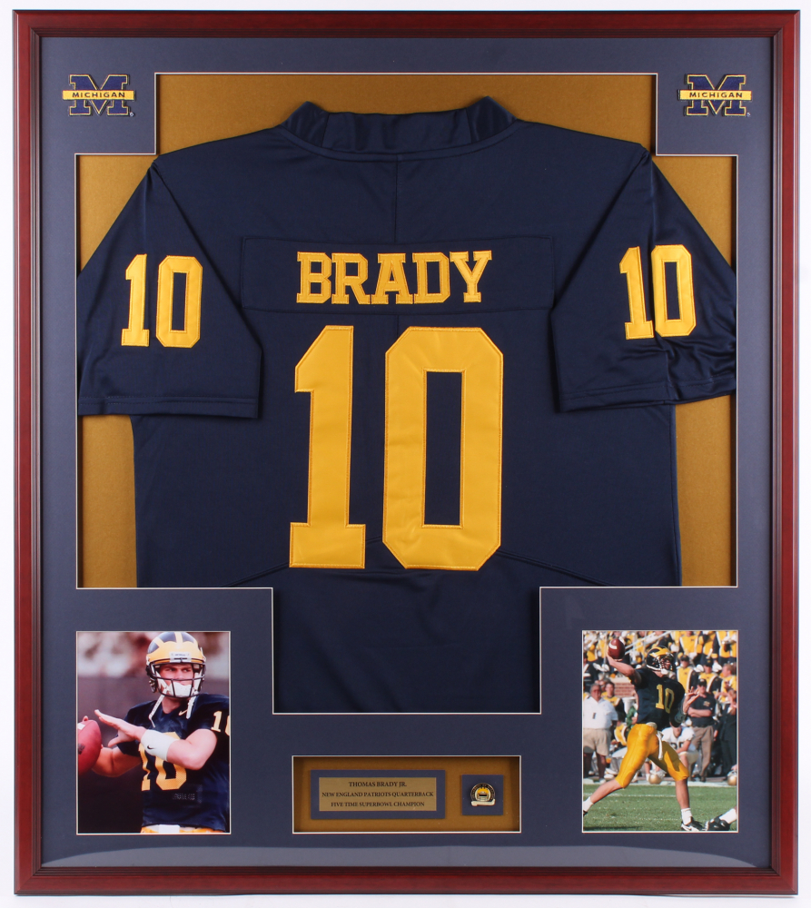Tom Brady 32x36 Custom Framed Jersey Display with Michigan Pin ...
