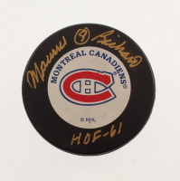 """Maurice Richard Signed Canadiens Logo Hockey Puck Inscribed """"HOF - 61"""" (Beckett COA) at PristineAuction.com"""