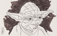 "Tom Hodges - Yoda - ""Star Wars"" - Signed ORIGINAL 5.5"" x 8.5"" Drawing on Paper (1/1) at PristineAuction.com"