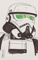 "Tom Hodges - Imperial Patrol Trooper - ""Star Wars"" - Signed ORIGINAL 5.5"" x 8.5"" Drawing on Paper (1/1) at PristineAuction.com"