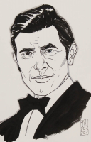 "Tom Hodges - James Bond - George Lazenby - Signed ORIGINAL 5.5"" x 8.5"" Drawing on Paper (1/1) at PristineAuction.com"