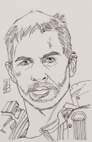 "Tom Hodges - Max Rockatansky - Tom Hardy - ""Mad Max"" - Signed ORIGINAL 5.5"" x 8.5"" Drawing on Paper (1/1) at PristineAuction.com"