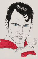 "Tom Hodges - Superman - Henry Cavill - DC Comics - Signed ORIGINAL 5.5"" x 8.5"" Drawing on Paper (1/1) at PristineAuction.com"