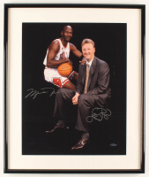 Michael Jordan & Larry Bird Signed 21x25 Custom Framed Photo Display (UDA Hologram) at PristineAuction.com
