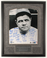 MLB Hall of Fame LE 24x30 Custom Framed Photo Display Signed By (23) With Kirby Puckett, Yogi Berra, Hank Aaron, Willie McCovey With Multiple Inscriptions (Steiner COA) at PristineAuction.com