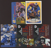 Lot of (5) Football Cards with 1995 Signature Rookies Auto-Phonex Phone Card Autographs #2 Kevin Carter, 1990 Fleer #35 Henry Ellard (JSA COA), 2006 Upper Deck #86 Dallas Clark (JSA COA) at PristineAuction.com