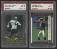Lot of (2) PSA Graded 9 Football Cards with 1999 Topps Chrome #135 Ricky Williams & 1999 Bowman #168 Donovan McNabb RC at PristineAuction.com